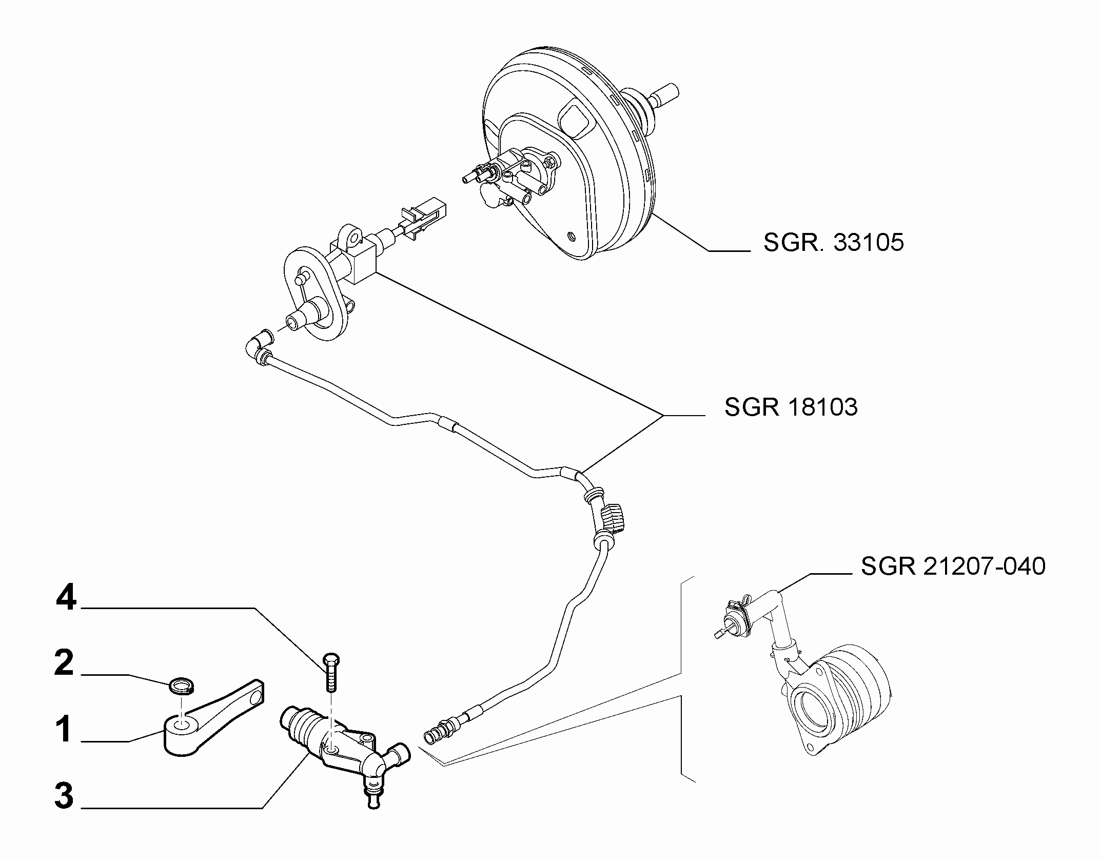 18103-020 CLUTCH LEVER CYLINDER AND HOSE