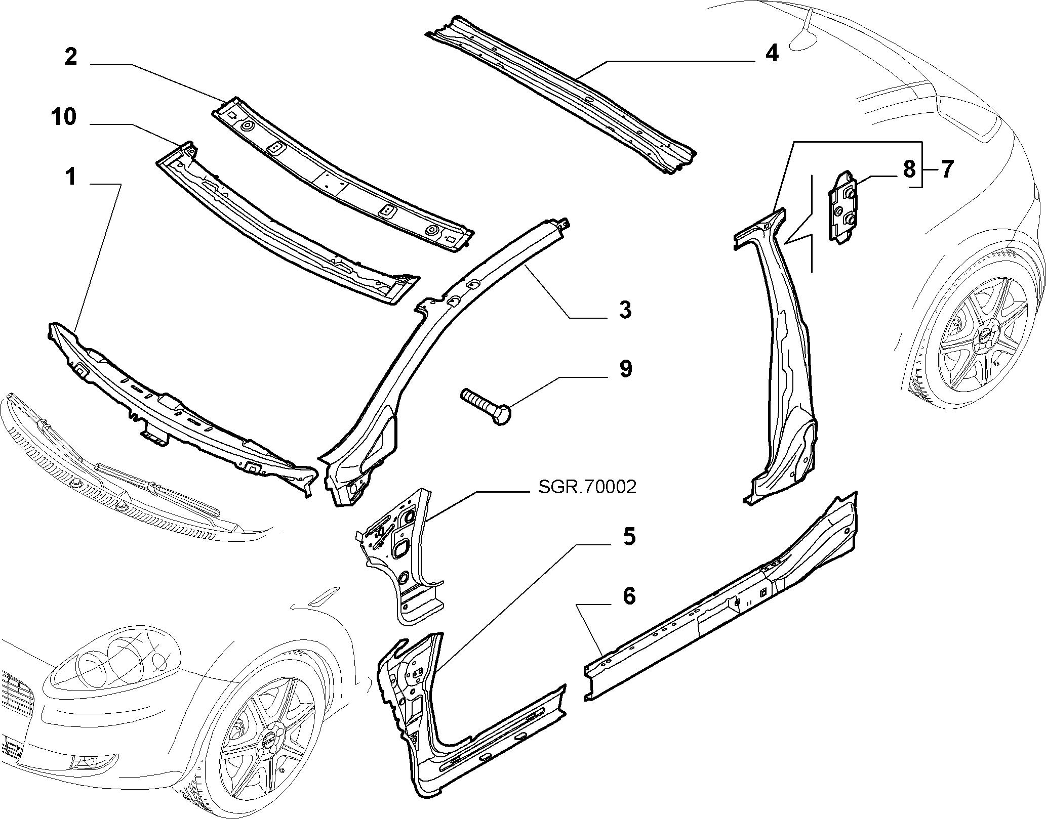 70003-010 КУЗОВ, РАМЫ (ЦЕНТРАЛЬНАЯ ЧАСТЬ)