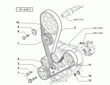 Схема и место установки. позиция 6. Ролик-натяжитель ремня ГРМ, Fiat Ducato, двигатель 2.3 JTD.