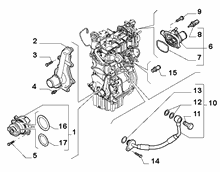 10402-030 WATER PUMP, PIPES AND THERMOSTAT
