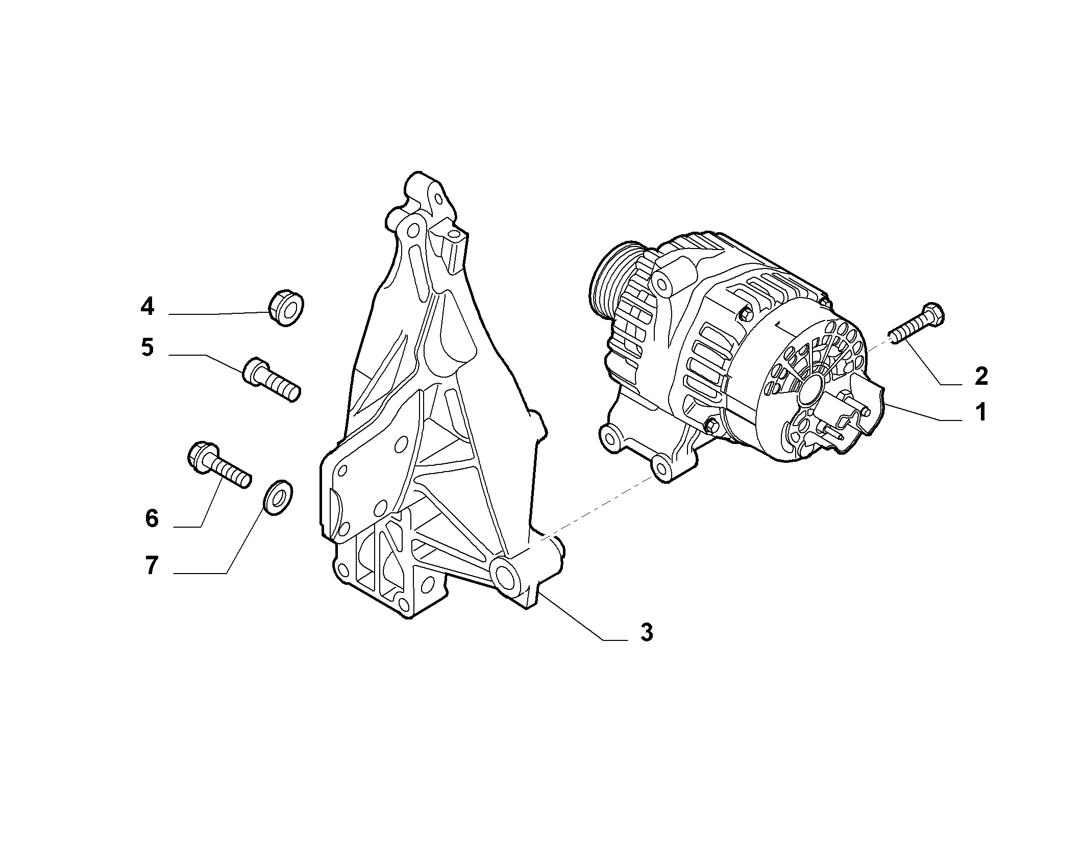 55301-010 ALTERNATOR AND MOUNTING